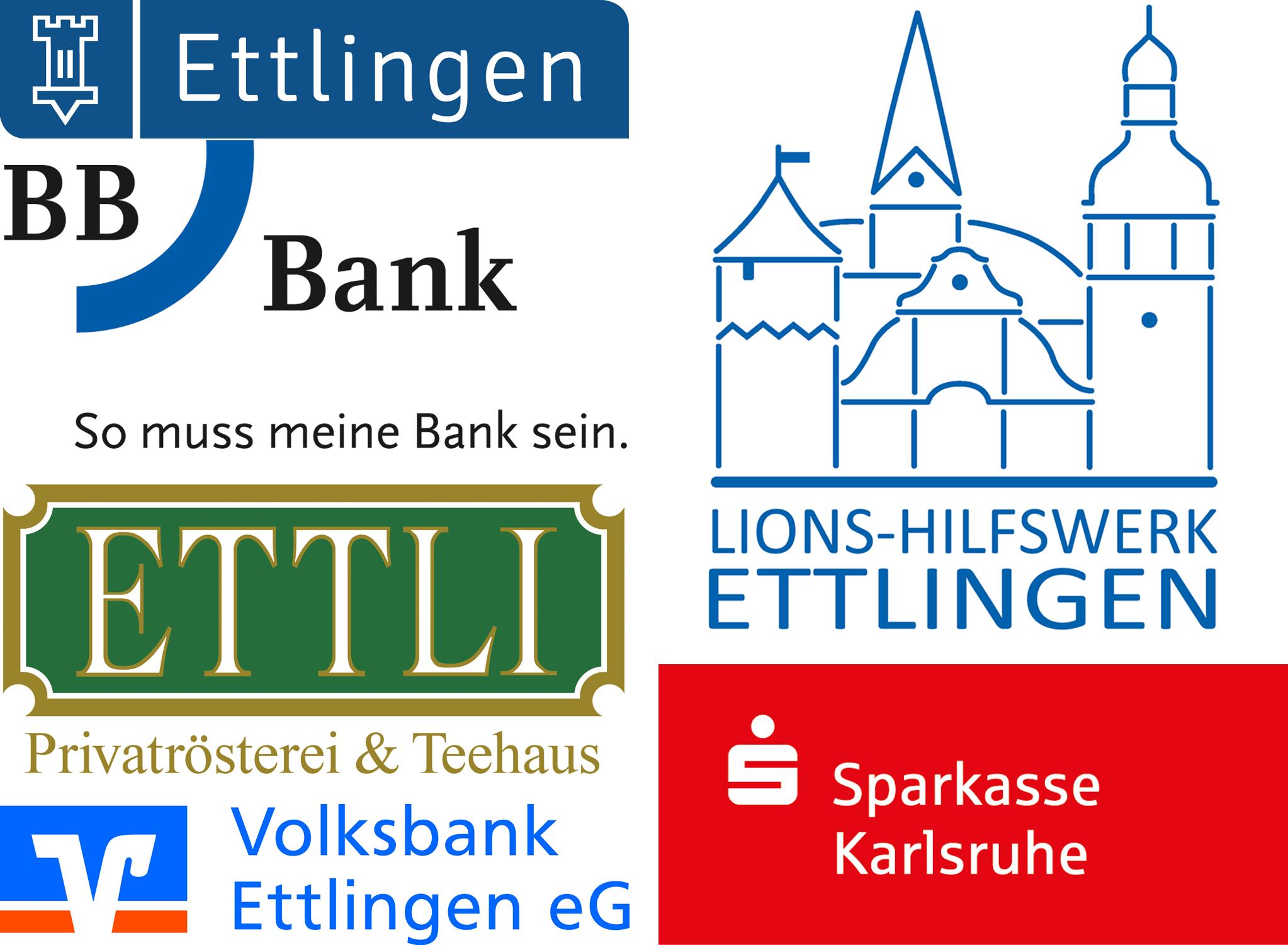 Logos Stadt Ettlingen, Ettli Privatrösterei, Volksbank Ettlingen, Lions-Hilfswerk Ettlingen, Sparkasse Karlsruhe