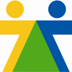 Logo des Kaffeehäusles. Ein gelbes und ein blaues Menschen nebeneinander, die Schnittmenge beider wird grün dargestellt.